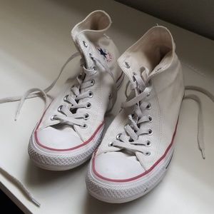 like new white converse high tops